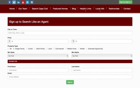 Screenshot of Signup Page capecodrealestateservices.com - Cape Cod Real Estate, Marie Souza - captured May 13, 2017
