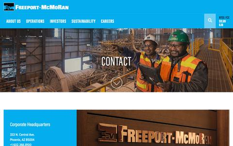 Screenshot of Contact Page fcx.com - CONTACT Freeport-McMoRan | Freeport-McMoRan - captured March 31, 2019
