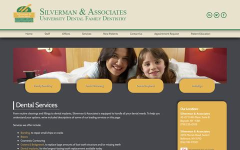 Screenshot of Services Page drsilvermanassociates.com - Dental Services - Bayside & Bellmore, NY - Dentist - captured Nov. 3, 2014