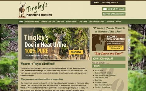 Screenshot of Home Page tingleysnorthland.com - Tingley's Northland Hunting | Pure Deer Urines, Doe in Heat, Deer Lures, Cover Scents - captured June 20, 2015