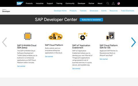 Screenshot of Developers Page sap.com - Resources for SAP Developers | SAP - captured July 19, 2017