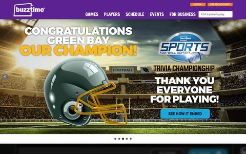 Screenshot of Home Page buzztime.com - Buzztime | Bar Trivia, Live Trivia, Cards & Sports Games - captured Feb. 21, 2016