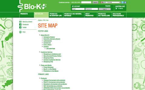 Screenshot of Site Map Page biokplus.com - Site map - captured Sept. 22, 2014