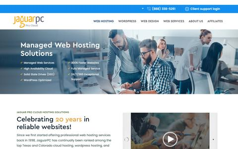 Screenshot of Home Page jaguarpc.com - Web Hosting Solutions - Cloud VPS Hosting Solutions- Jaguarpc - captured Nov. 7, 2018