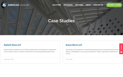 Screenshot of Case Studies Page alncorp.com - Press Releases | American LegalNet - captured Sept. 30, 2018
