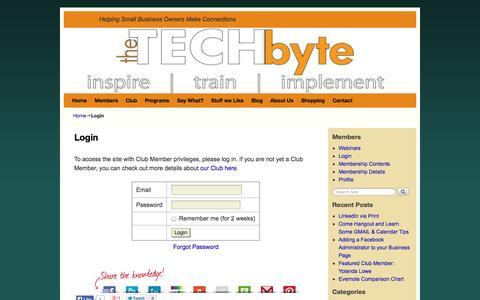 Screenshot of Login Page thetechbyte.com - Login | - captured Oct. 9, 2014