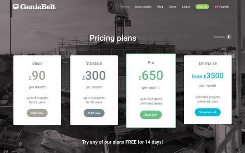 Screenshot of Pricing Page geniebelt.com - GenieBelt - Pricing - captured Dec. 22, 2017