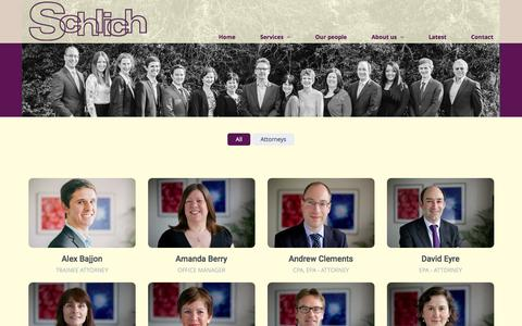 Screenshot of Team Page schlich.co.uk - Schlich - Our People, Attorneys and Support Staff - captured Feb. 4, 2016