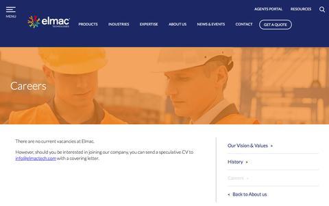 Screenshot of Jobs Page elmactechnologies.com - Careers - Elmac - captured July 30, 2017