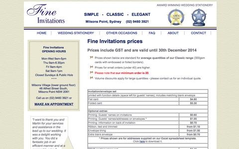 Screenshot of Pricing Page fineinvitations.com.au - Price List | Fine Invitations | Fine Invitations - captured Sept. 30, 2014