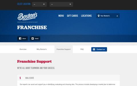 Screenshot of Support Page bostons.com - Franchise Support | Boston's Restaurant & Sports Bar - captured Oct. 5, 2014