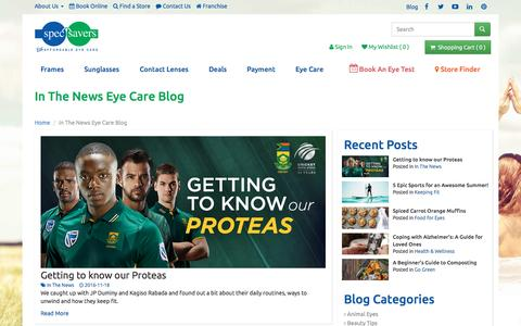 Screenshot of Press Page specsavers.co.za - In The News Eye Care Blog - Spec-Savers South Africa - captured Dec. 3, 2016