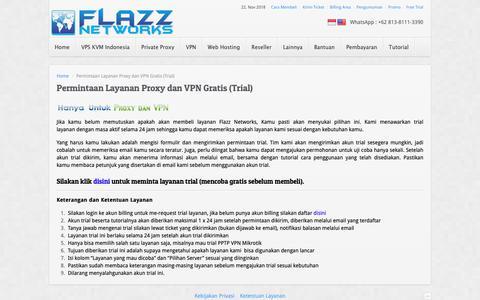 Screenshot of Trial Page flazznetworks.com - Permintaan Layanan Proxy dan VPN Gratis (Trial) | Flazz Networks - captured Nov. 22, 2018