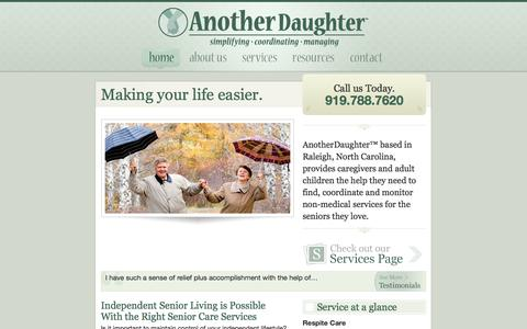 Screenshot of Home Page anotherdaughter.com - Another Daughter TM | A senior care service for independent Seniors living in or around Raleigh, NC - captured Sept. 30, 2014
