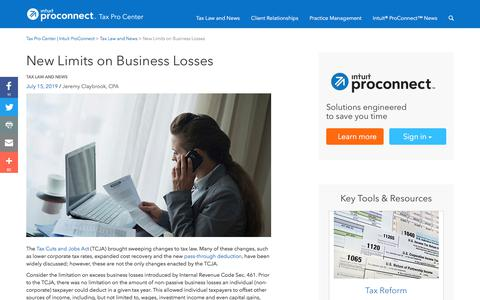 Screenshot of Press Page intuit.com - New Limits on Business Losses | Tax Pro Center | Intuit ProConnect - captured Nov. 21, 2019