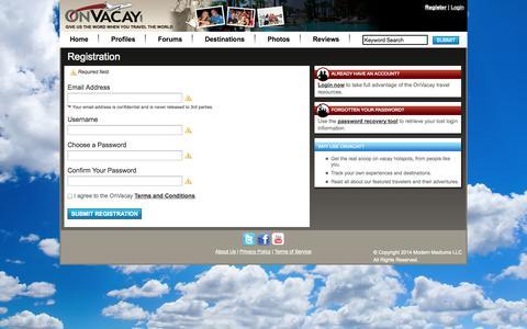 Screenshot of Signup Page onvacay.com - OnVacay - Registration - captured Oct. 26, 2014
