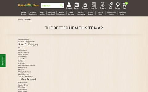 Screenshot of Site Map Page thebetterhealthstore.com - Site Map - captured Sept. 20, 2018