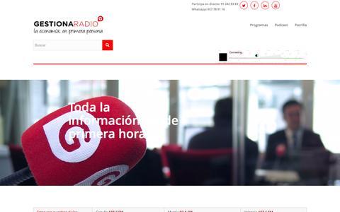 Screenshot of Home Page gestionaradio.com - Gestiona Radio | la economía, en primera persona - captured July 20, 2015