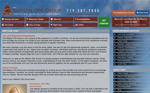 Screenshot of About Page Team Page watsoncpagroup.com - Tax and Business Consultants - Colorado Springs CPA - Meet The Team - captured Jan. 12, 2016