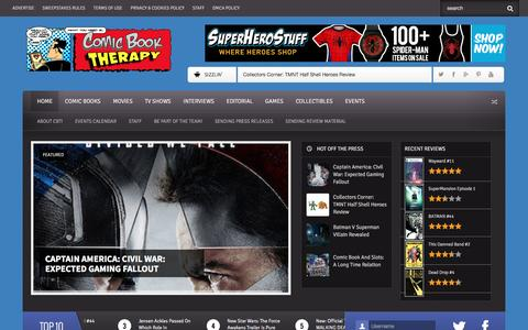 Screenshot of Home Page comicbooktherapy.com - Comic Book Therapy : Comic Book News, Reviews, Previews, Interviews! - captured Dec. 10, 2015