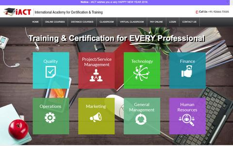 Screenshot of Home Page iactglobal.in - iACT Global - Training in Six Sigma, Project Management, Supply Chain, ITIL, IFRS - captured Jan. 9, 2016