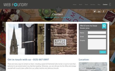 Screenshot of Contact Page web-foundry.co.uk - Contact Web Foundry Edinburgh +44 (0) 131 445 7067 - captured Jan. 12, 2016