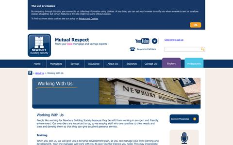 Screenshot of Jobs Page newbury.co.uk - Working With Us - captured Oct. 7, 2014