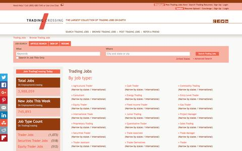 Screenshot of Jobs Page tradingcrossing.com - Trading Jobs, Browse Jobs in Trading By Job Type, City, State in United States   TradingCrossing.com - captured Jan. 12, 2016