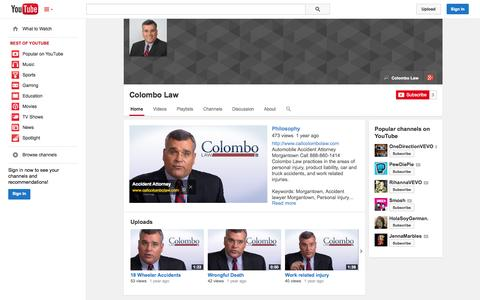 Screenshot of YouTube Page youtube.com - Colombo Law  - YouTube - captured Oct. 22, 2014