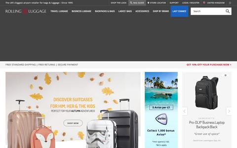 Screenshot of Home Page rollingluggage.com - Rolling Luggage, the luggage & bags experts - captured Nov. 13, 2017