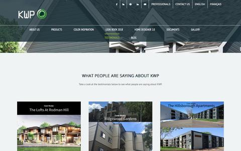 Screenshot of Testimonials Page kwpproducts.com - Testimonials – KWP | Engineered Wood Siding & Trim Boards - captured Sept. 20, 2018