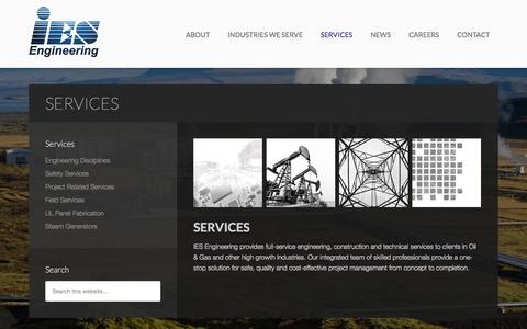 Screenshot of Services Page ies-engr.com - Services - IES - captured Oct. 3, 2014