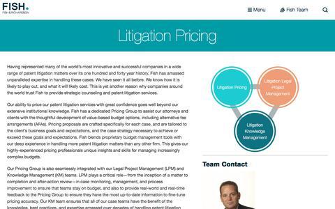 Screenshot of Pricing Page fr.com - Litigation  Pricing | Fish - captured Aug. 7, 2019