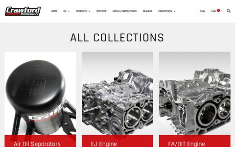 Screenshot of Products Page crawfordperformance.com - Collections – Crawford Performance - captured July 23, 2018