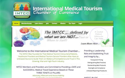 Screenshot of Home Page imtcc.org - International Medical Tourism Chamber of Commerce - Home - captured Oct. 3, 2014