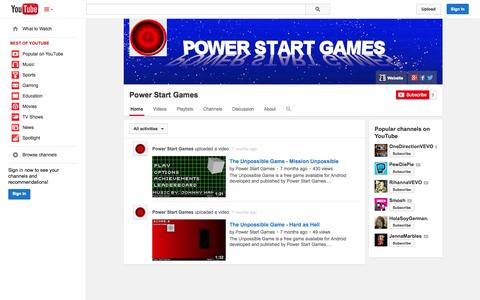 Screenshot of YouTube Page youtube.com - Power Start Games  - YouTube - captured Oct. 23, 2014