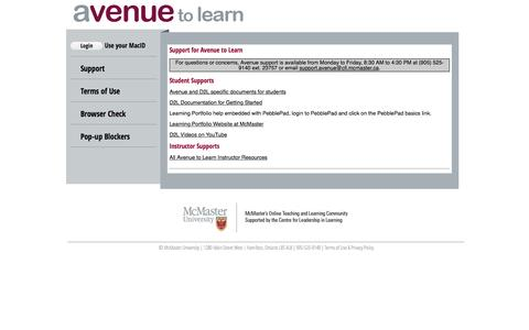 Screenshot of Support Page mcmaster.ca - Avenue to Learn - McMaster University - captured Feb. 4, 2017