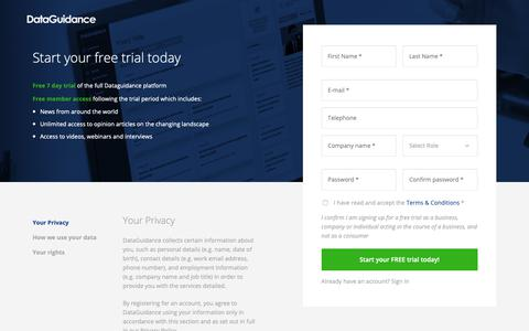 Screenshot of Trial Page dataguidance.com - Start your free trial today | DataGuidance - captured Nov. 29, 2018