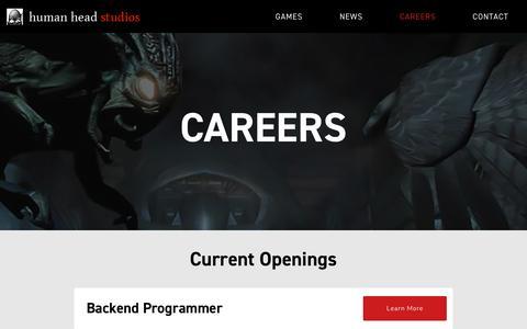 Screenshot of Jobs Page humanhead.com - Careers - Human Head - captured Sept. 30, 2018