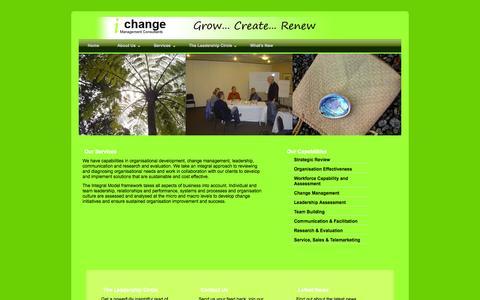 Screenshot of Services Page ichange.co.nz - ichange Management Consultants - captured Oct. 6, 2014