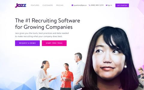 Screenshot of Home Page jazz.co - Jazz: Recruiting Software - Applicant Tracking System - ATS - captured Jan. 13, 2016
