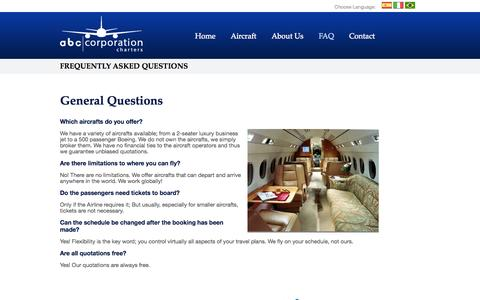 Screenshot of FAQ Page abccorporationcharters.com - ABC Corporation Charters: Frequently Asked Questions - captured Sept. 30, 2014