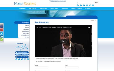 Screenshot of Testimonials Page noblesys.com - Noble Systems - Testimonials - captured Aug. 17, 2016