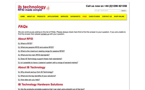 Screenshot of FAQ Page ibtechnology.co.uk - ib technology - rfid tags, rfid applications -  - UK - captured Sept. 30, 2014