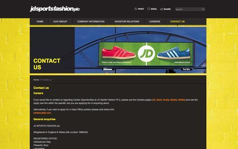 Screenshot of Contact Page jdplc.com - Contact us – JD Sports Fashion plc - captured Sept. 23, 2014