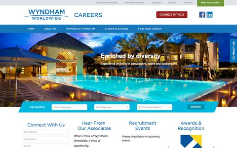 Screenshot of Jobs Page wyndhamworldwide.com - Wyndham Careers - captured Oct. 30, 2015