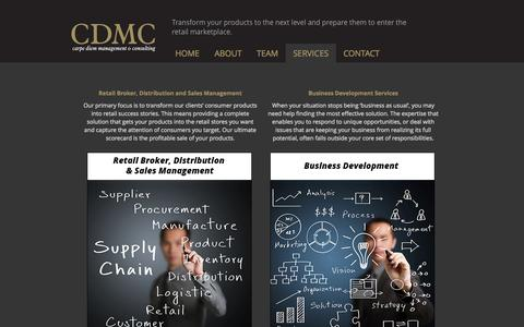 Screenshot of Services Page cdmc.info - Incubator Services | CDMC - Carpe Diem Management & Consulting - captured Oct. 2, 2014
