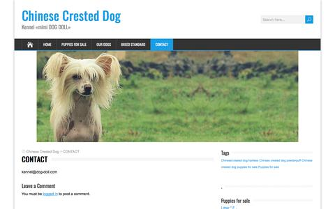 Screenshot of Contact Page dog-doll.com - CONTACT - Chinese Crested Dog - captured Feb. 28, 2018