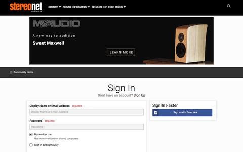 Screenshot of Login Page stereo.net.au - Sign In - StereoNET - captured Sept. 22, 2018
