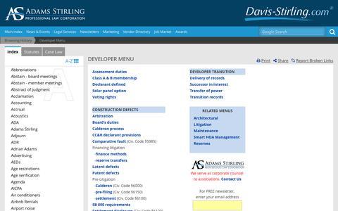 Screenshot of Developers Page davis-stirling.com - Developer Menu - captured Jan. 17, 2016